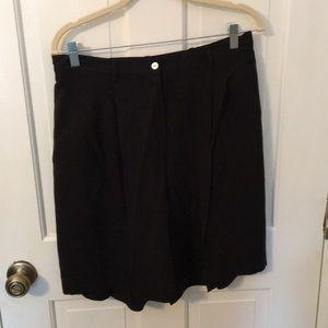 California style black silk shorts 14